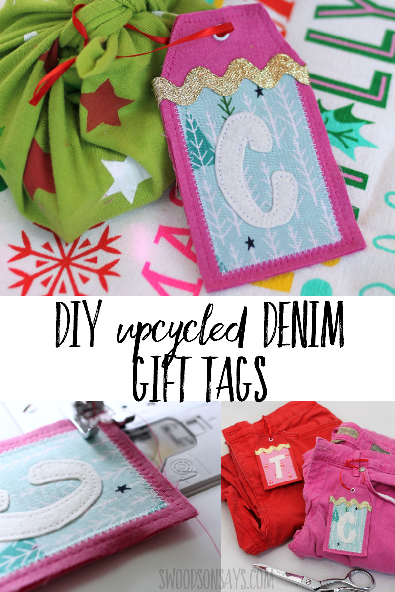 Make reusable gift tags this year and skip the paper! Download the free gift tag pattern and upcycle some old jeans to make these festive tags. You can alter these to be no sew without too much trouble as well! #upcycle #christmas #ecofriendly #gift #giftwrap #sewing