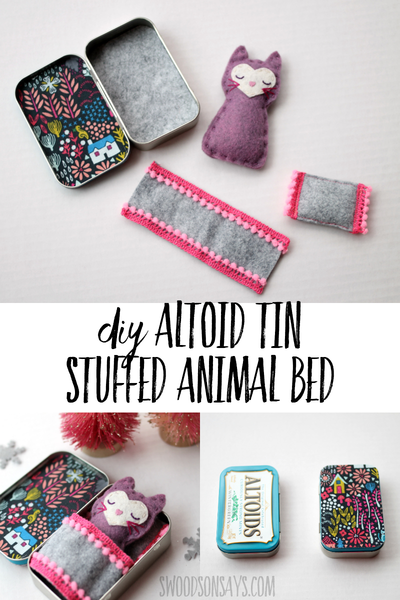 Upcycle an old altoids tin into a fun little sleeping spot for a felt toy! Download the free felt cat pattern as well and make a fun upcycled toy.