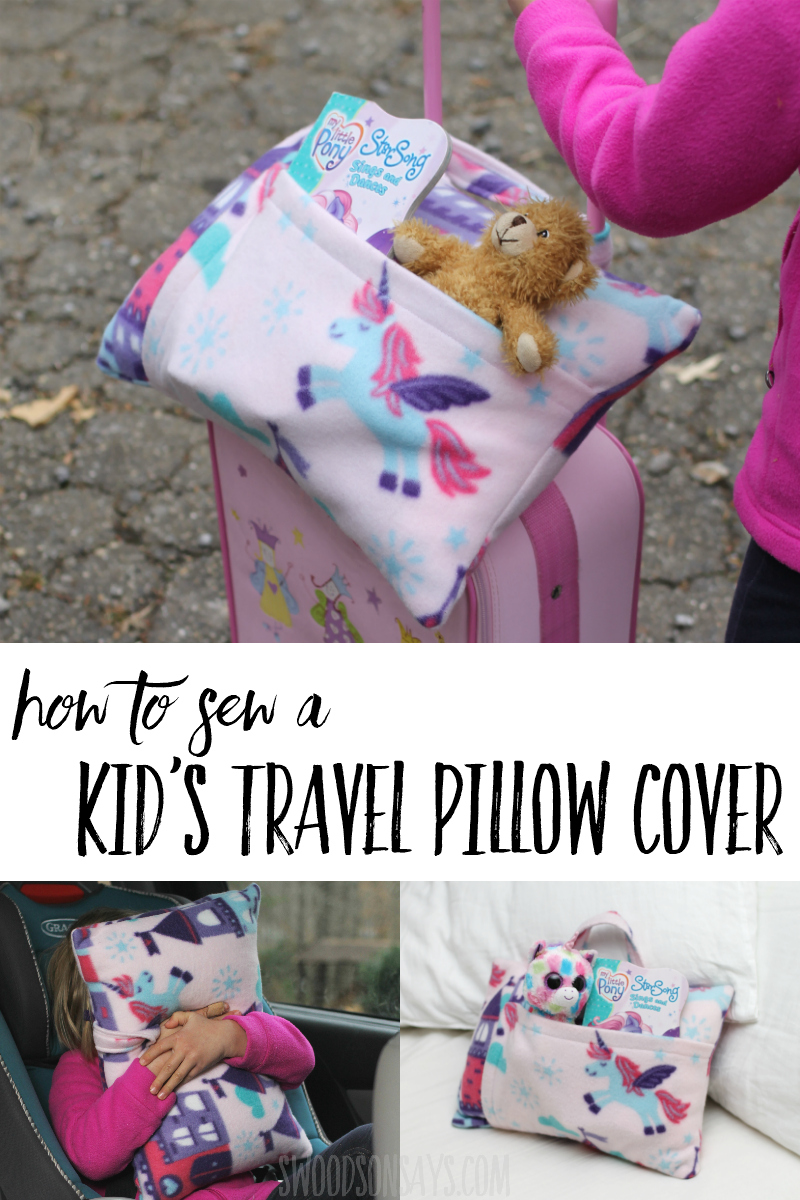 See how to sew a travel pillowcase in this easy fleece sewing project. Photo tutorial with travel pillow dimensions - sew one up with a handle and pocket, perfect for traveling with kids. #sewing
