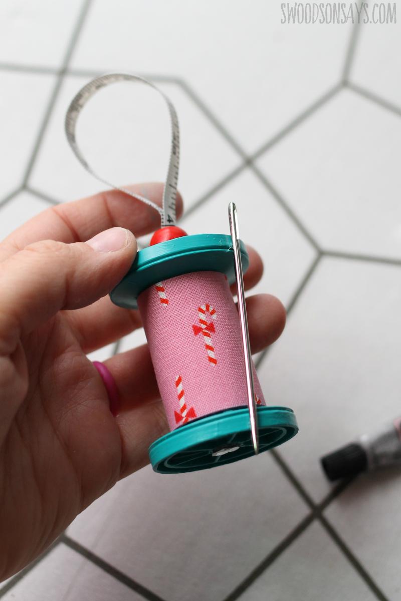plastic spool ornament