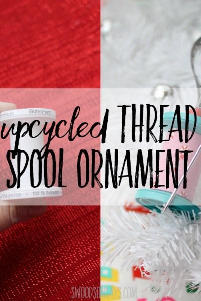upcycled thread spool ornament
