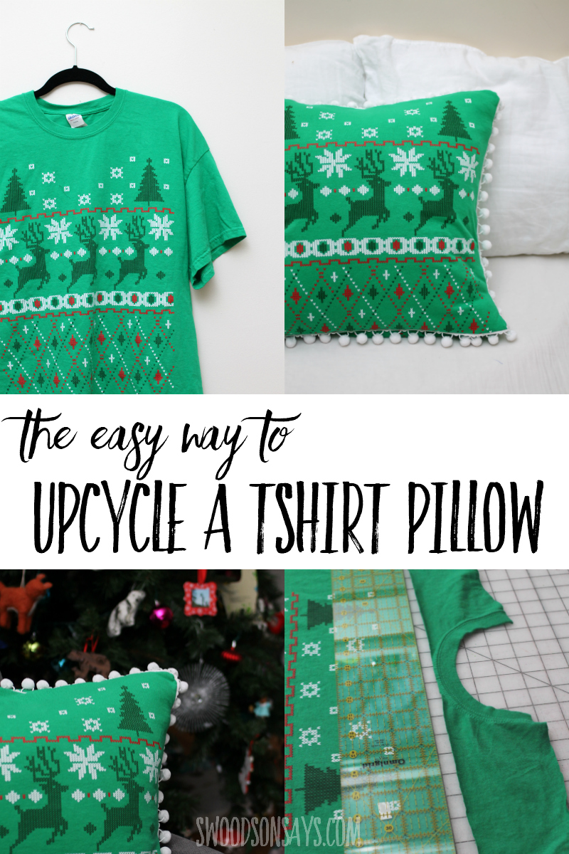 See the easy way to turn a t hirt into a pillow with this quick upcycle sewing tutorial! Save a meaningful t-shirt or simply add some cheap decor with this beginner sewing project. #sewing #upcycle #crafts