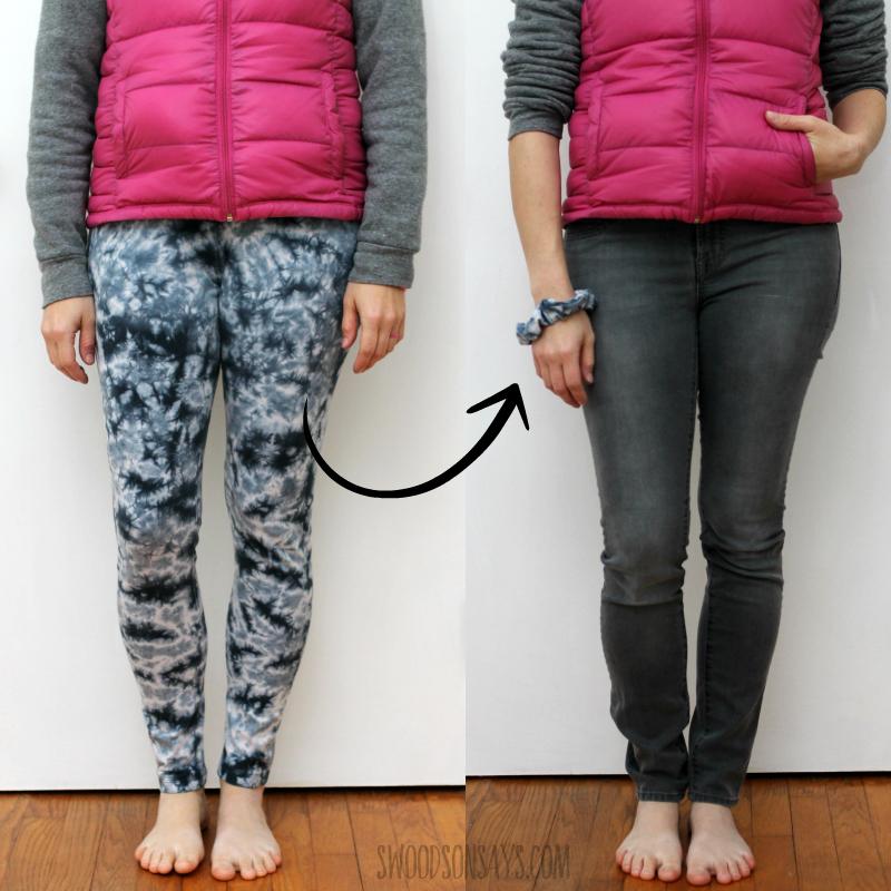 women's leggings into scrunchie