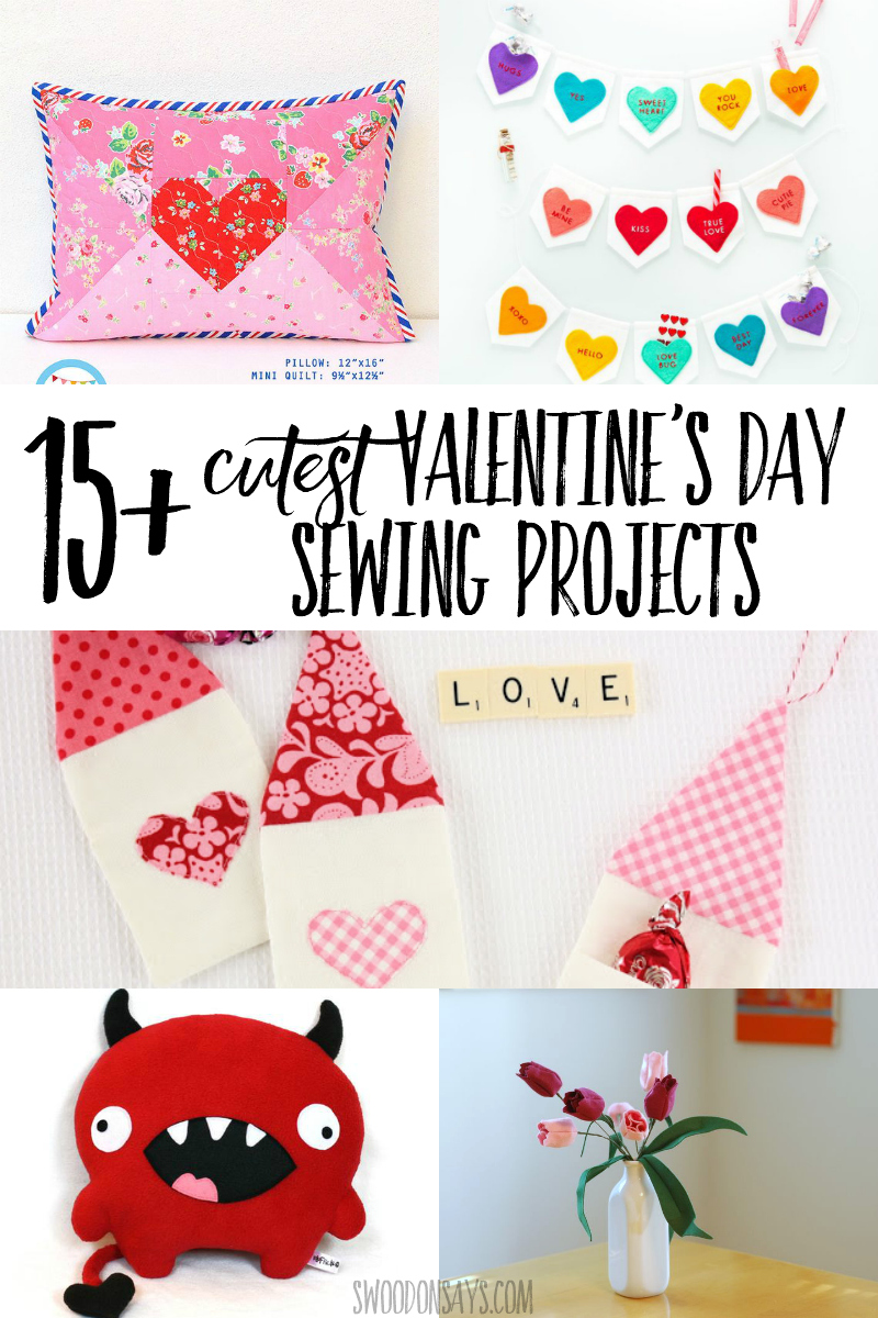 Stitch up some festive Valentine's Day sewing projects with this curated list! It includes Valentine's Day pillow sewing patterns, Valentine's Day stuffed aimal patterns, DIY Valentine's Day ornaments, and more! #sewing #valentinesday