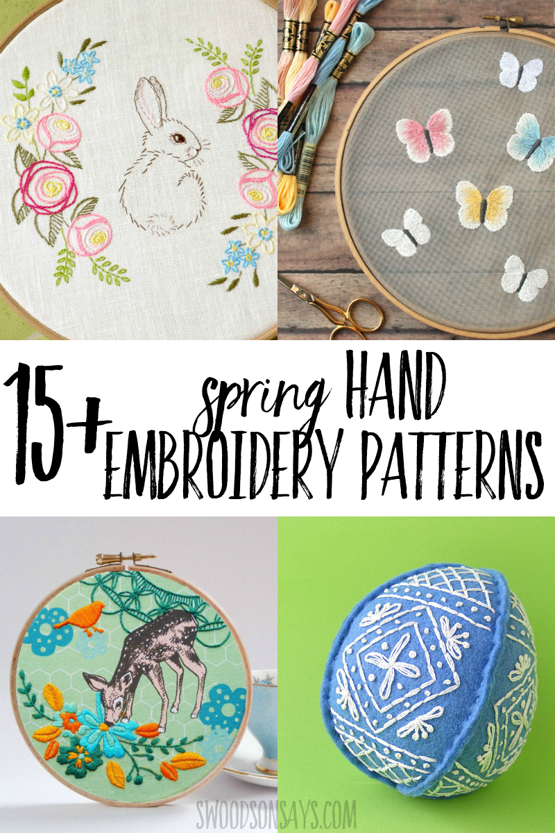 Kick off warmer weather by stitching a spring hand embroidery pattern! Full of floral embroidery designs, spring animals, and pretty pastels; this list is chock full of modern hand embroidery inspiration. #embroidery #spring #easter