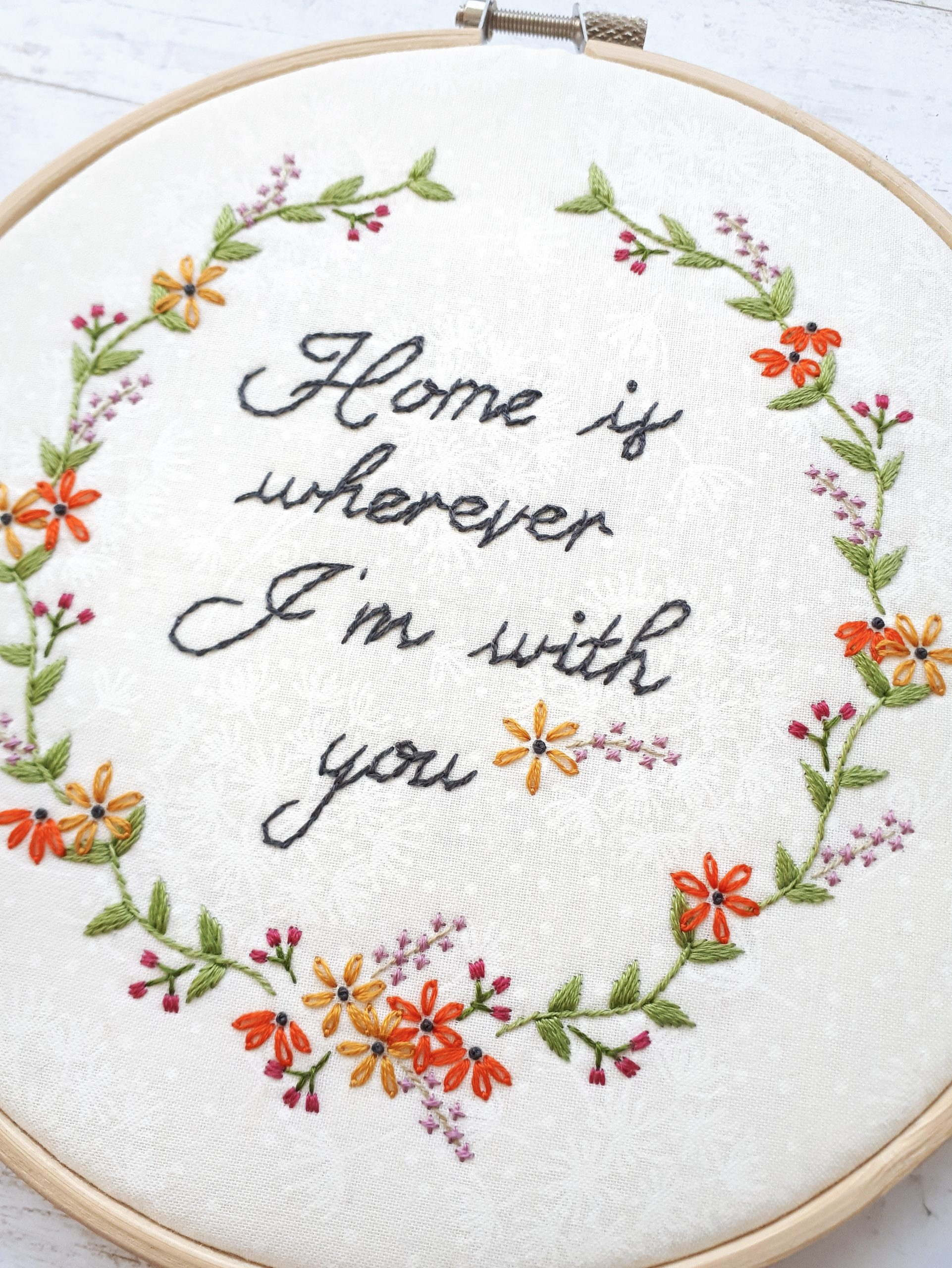 spring floral embroidery pattern