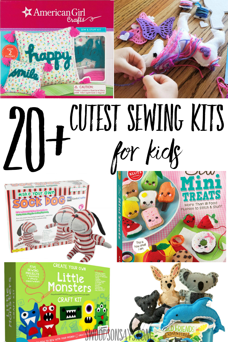 A roundup of the cutest sewing kits for kids! Lots of hand sewing for kids ideas and cute craft kits for boys and girls. Great creative gifts for crafty kids and simple ways to teach kids how to sew. #sewing