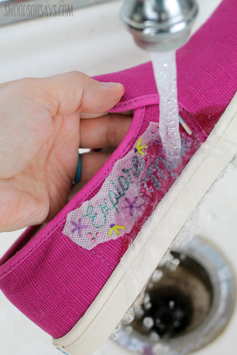 wash away hand embroidery medium