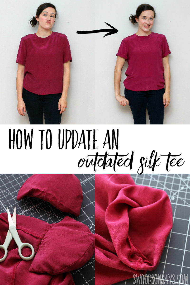 15 minute refashion of an outdated silk tshirt