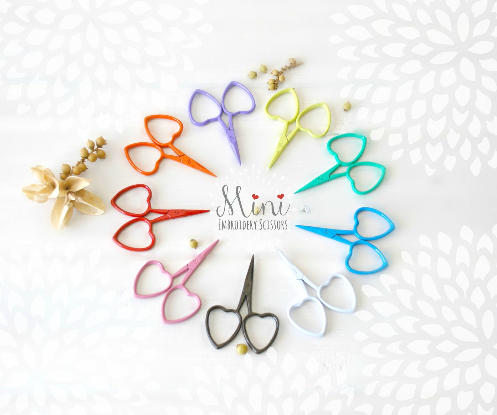 colorful heart scissors