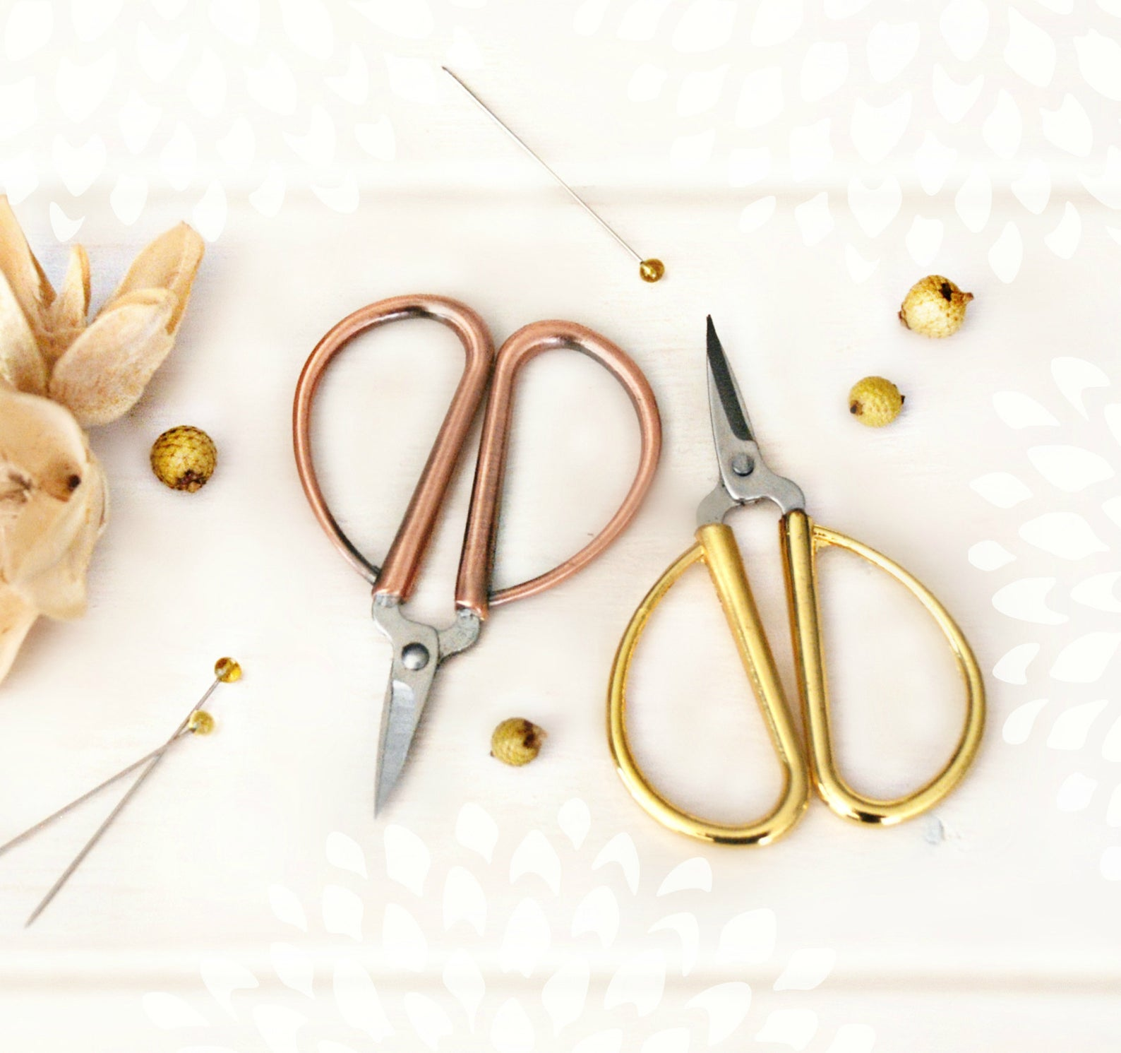 minimalist rose gold embroidery scissors