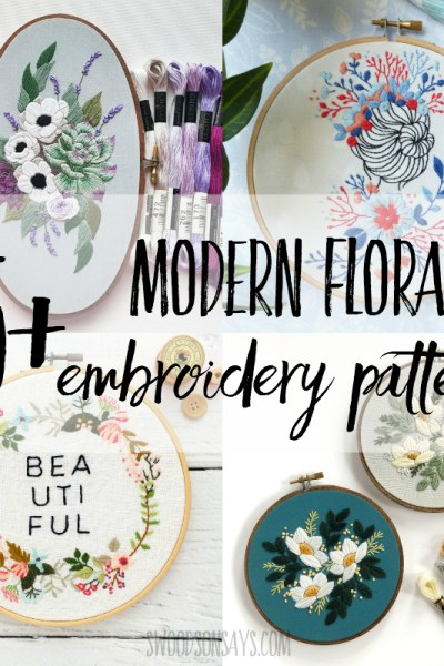 25+ modern floral embroidery patterns