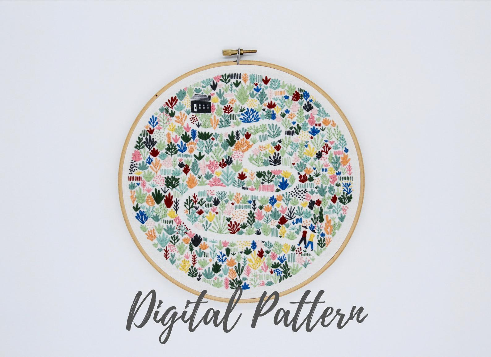 floral path hand embroidery pattern
