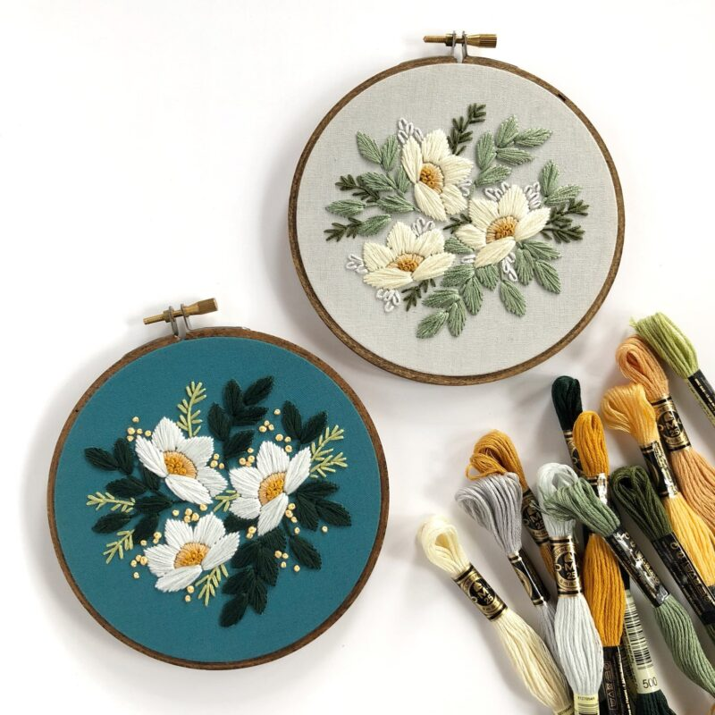 moody floral hand embroidery pattern