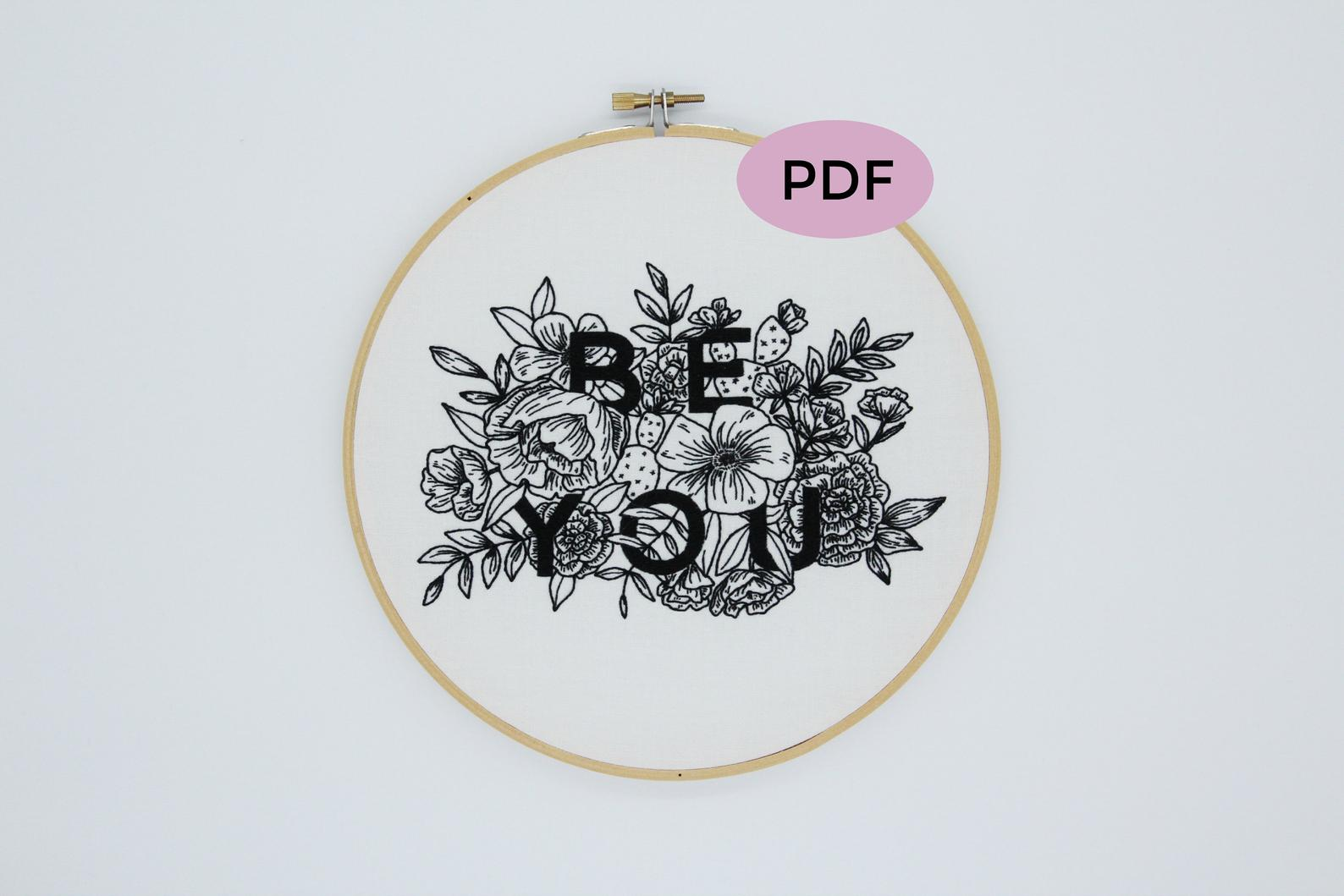 text floral embroidery pattern