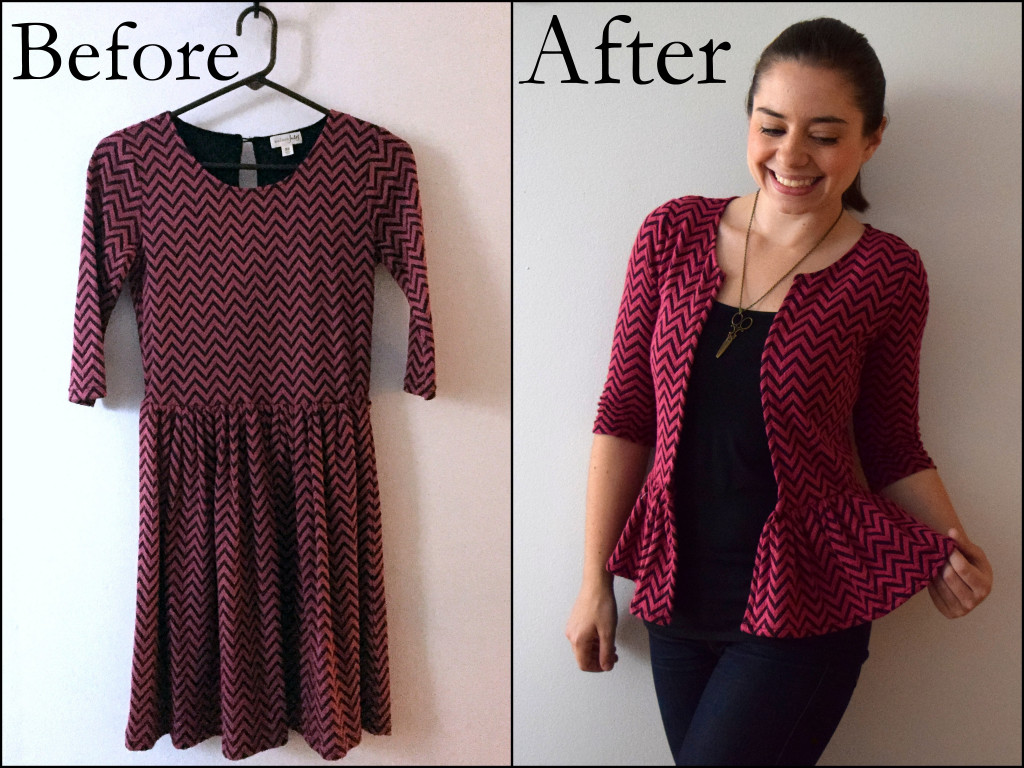 refashioned dress to cardigan