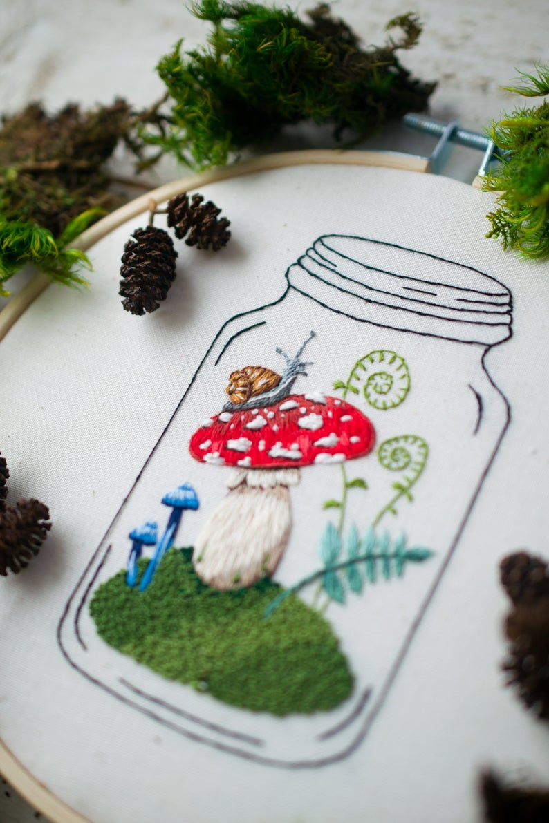 mason jar mushroom embroidery pattern