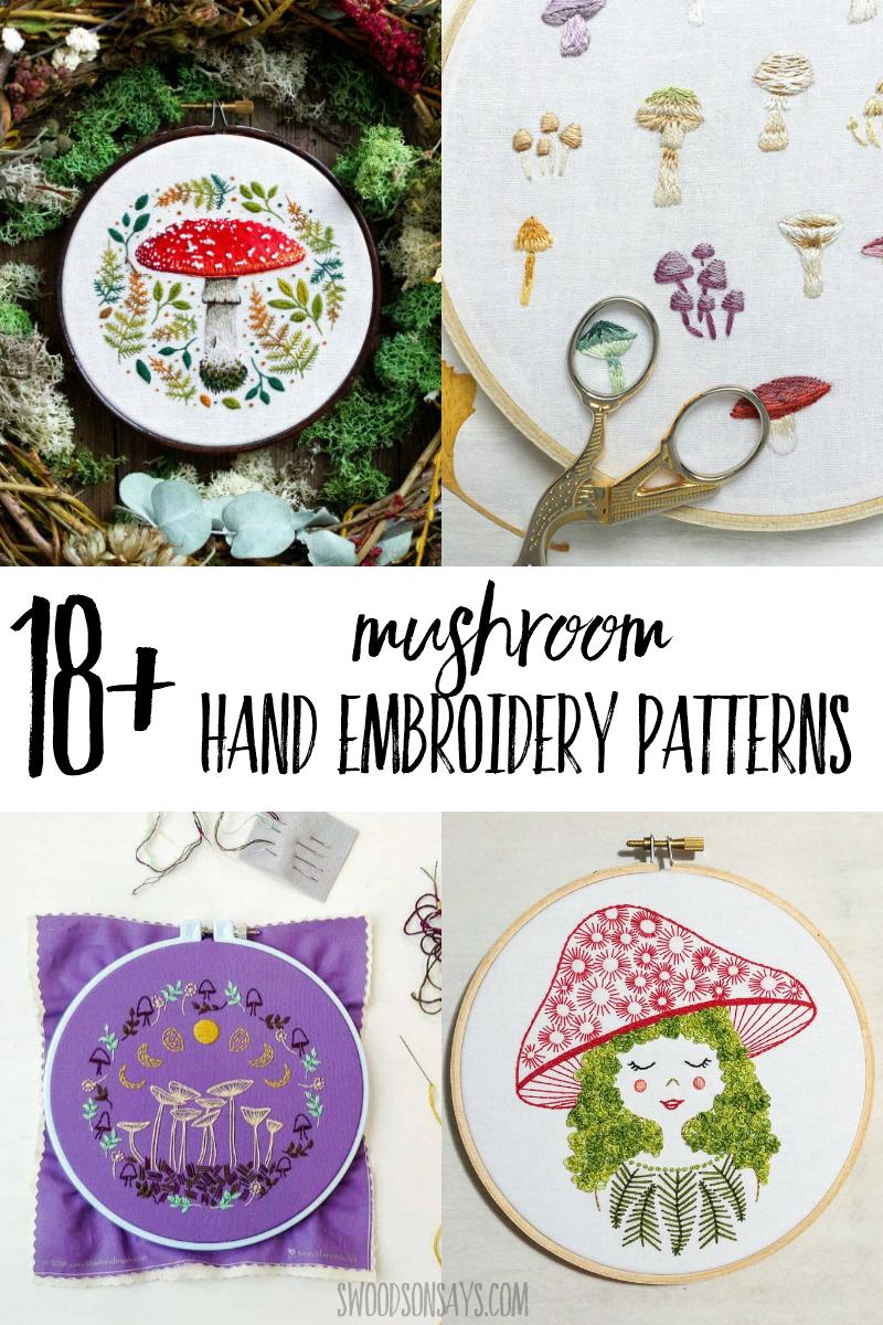 mushroom hand embroidery designs