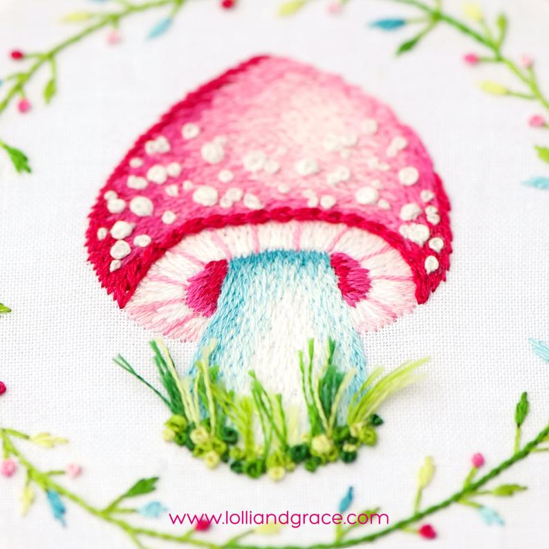 mushroom thread painting pattern
