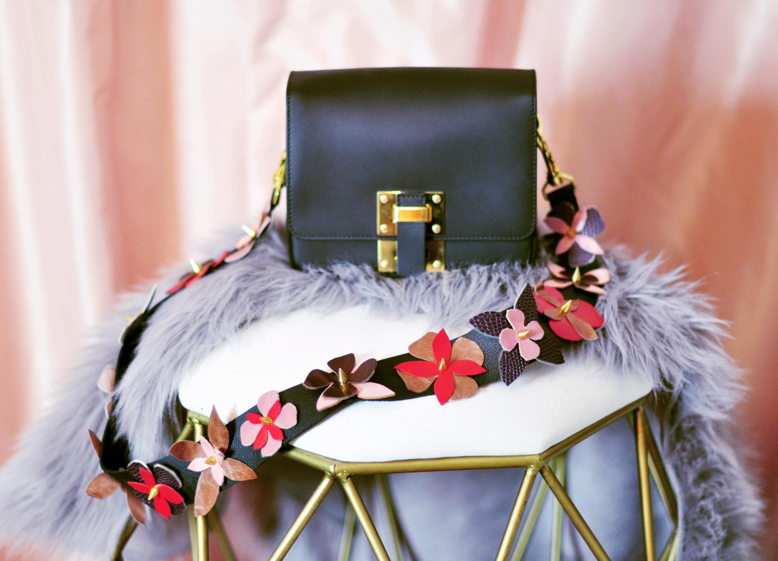 diy floral leather purse strap