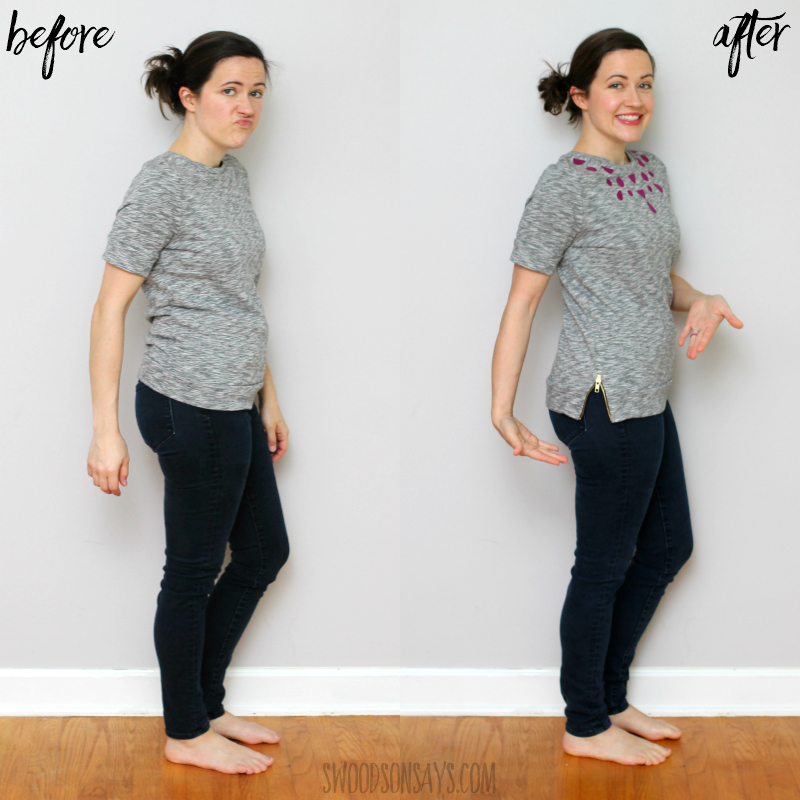tshirt refashion side zipper