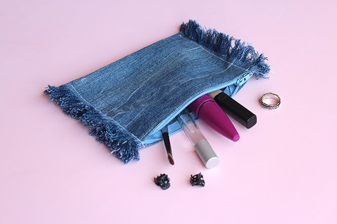 upcycled jean zipper pouch