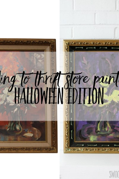 Adding to thrift store paintings - Halloween edition