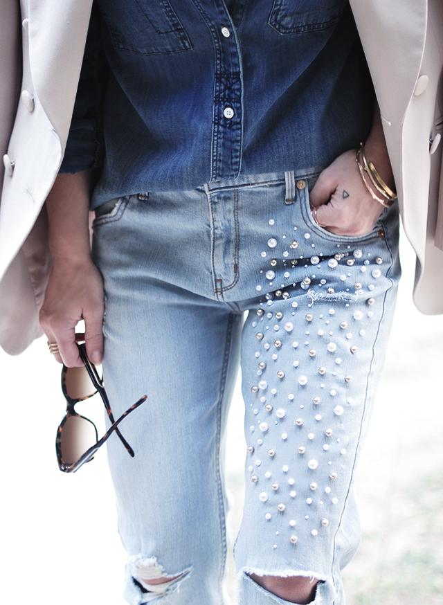 diy pearl encrusted jeans