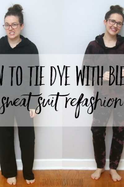 How to tie dye with bleach - jogger pants refashion