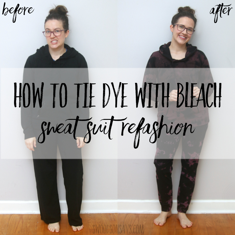 How to tie dye with bleach – jogger pants refashion