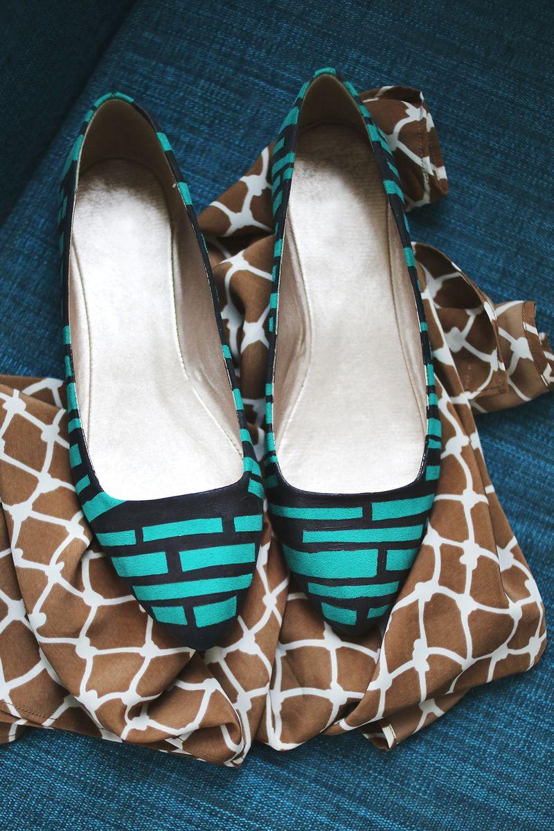 geometric shoe refashion