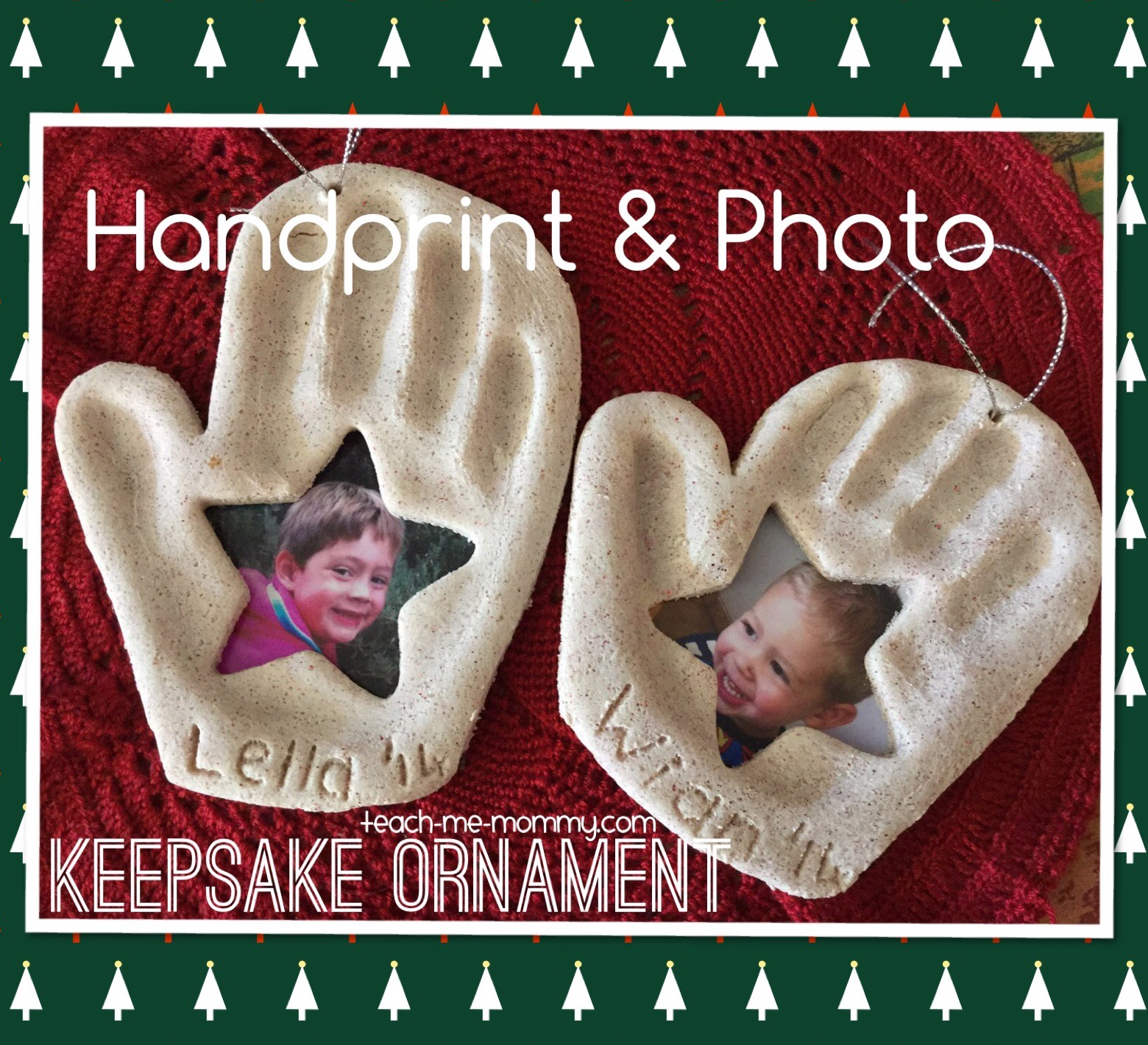 handprint photo ornament diy
