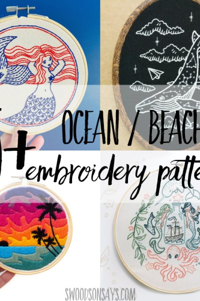 Ocean & beach embroidery designs to stitch