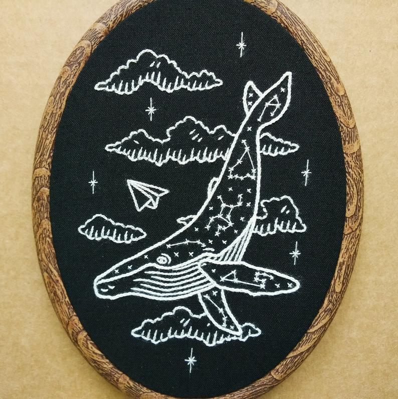 constellation whale embroidery pattern