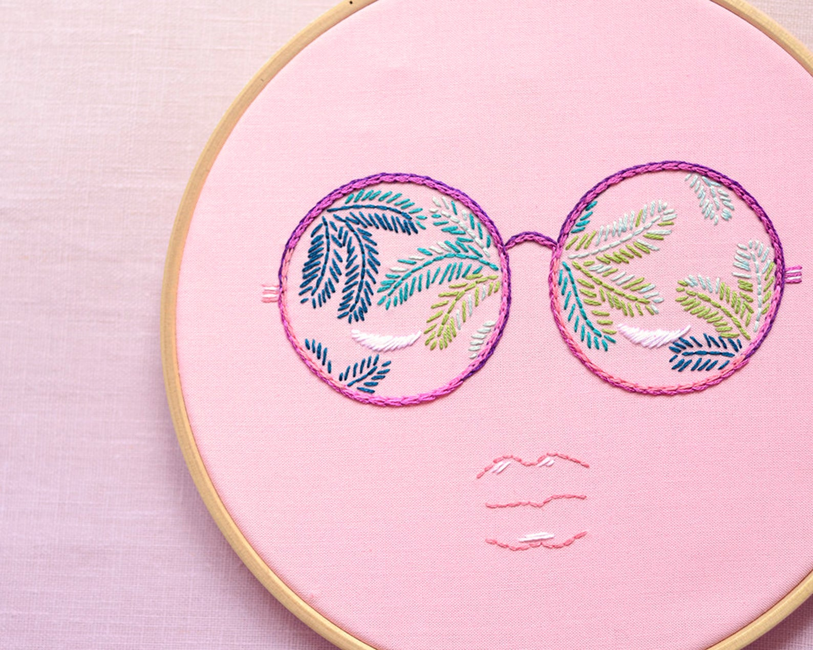 summer sunglasses hand embroidery pattern