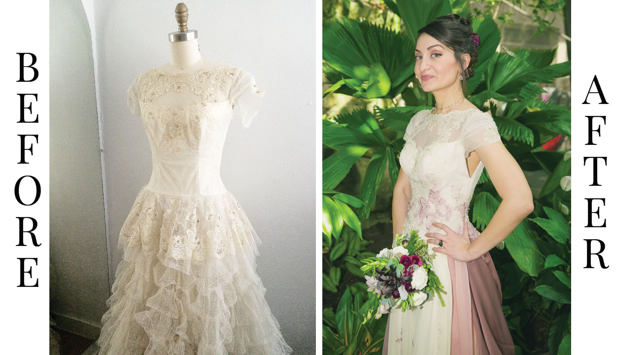 before after wedding dress refashion