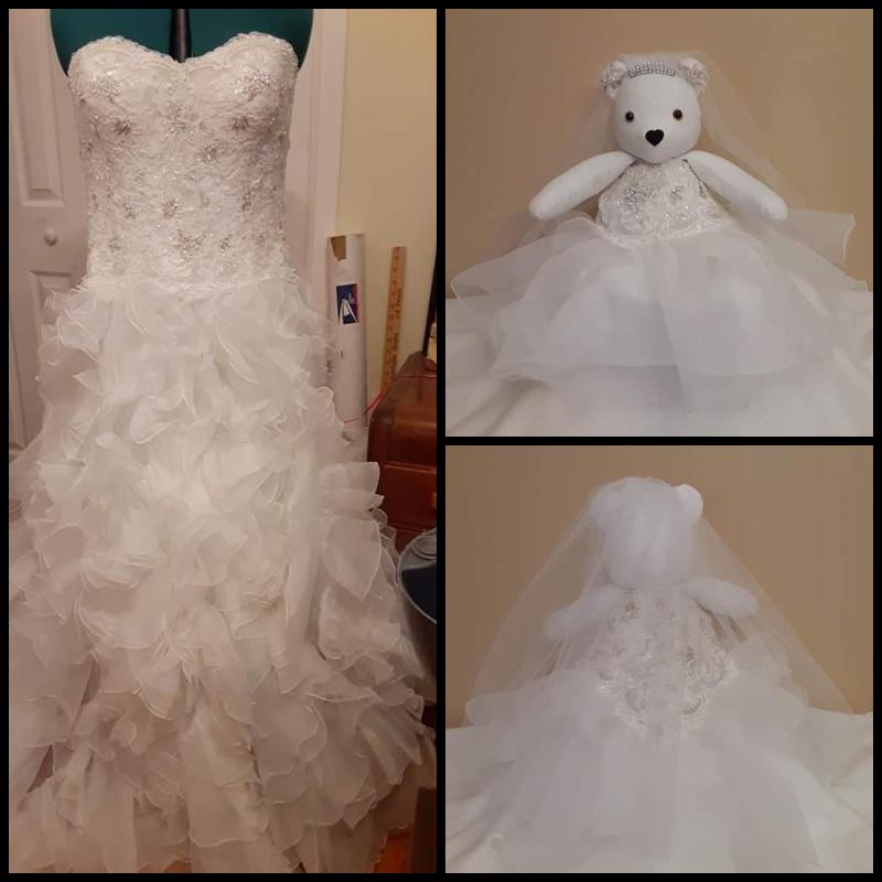 upcycled wedding dress into teddy bear stuffed animal