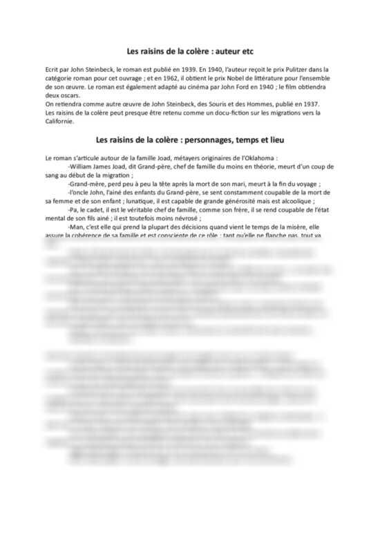 Les Raisins De La Colère Résumé : raisins, colère, résumé, Résumé, Steinbeck, Raisins, Colère, Summary/Zusammenfassung