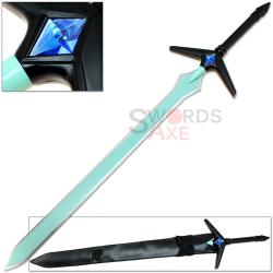 swords anime sword gem blade sapphire steel turquoise replica immersion carbon weapons weapon katana sao handle polyvore collectibles shipping detail