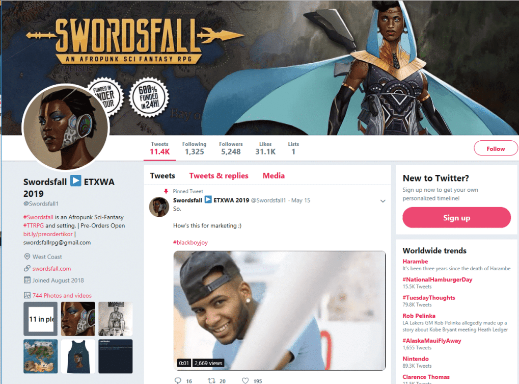 swordsfall twitter - 5 Tips to Boost your Tabletop RPG on Social Media