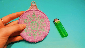 machine embroidery, machine embroidery designs, in the hoop, christmas, bauble, mylar