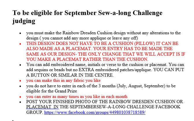 SEPTEMBER SEW-A-LONG RULES