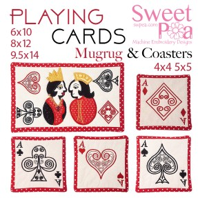 Playing Cards Mugrug 6x10 8x12 9.5x14 and Coasters 4x4 5x5 in the hoop