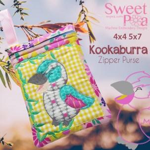 Kookaburra Zipper Purse 4x4 5x7 in the hoop