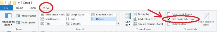 File name extension location2