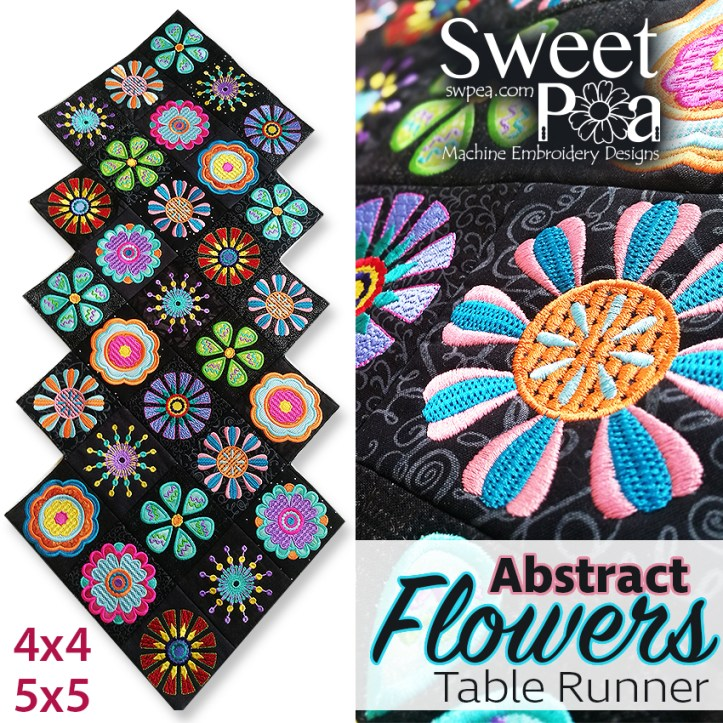 Abstract Flowers Table Runner 4x4 5x5in the hoop