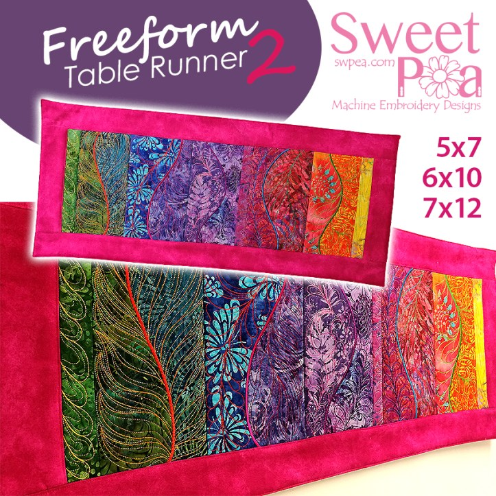 Freeform Table runner 2 5x7 6x10 7x12 in the hoop