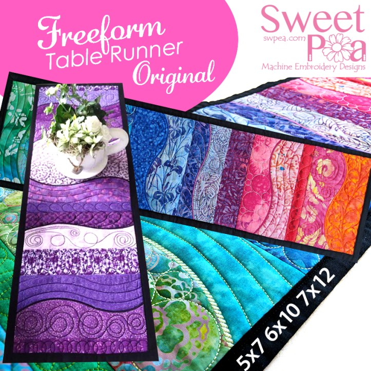 Freeform table runner 5x7 6x10 7x12 in the hoop
