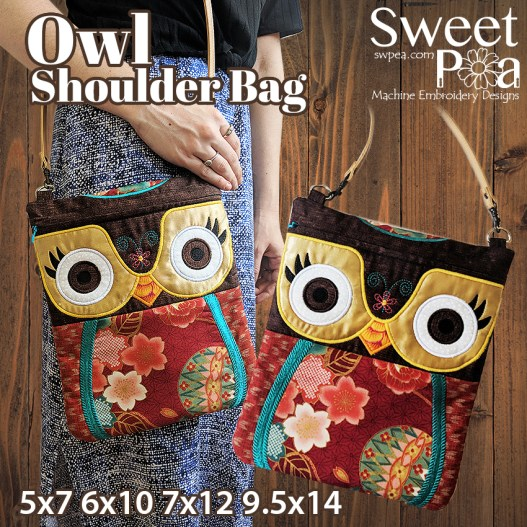 Owl Shoulder bag 5x7 6x10 7x12 9.5x14 in the hoop
