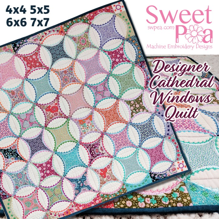 Designer Cathedral Windows Quilt 4x4 5x5 6x6 7x7 in the hoop